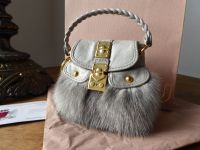 Miu Miu Micro Coffer Mini Bag Key Chain Charm in Grigio Fur and Leather