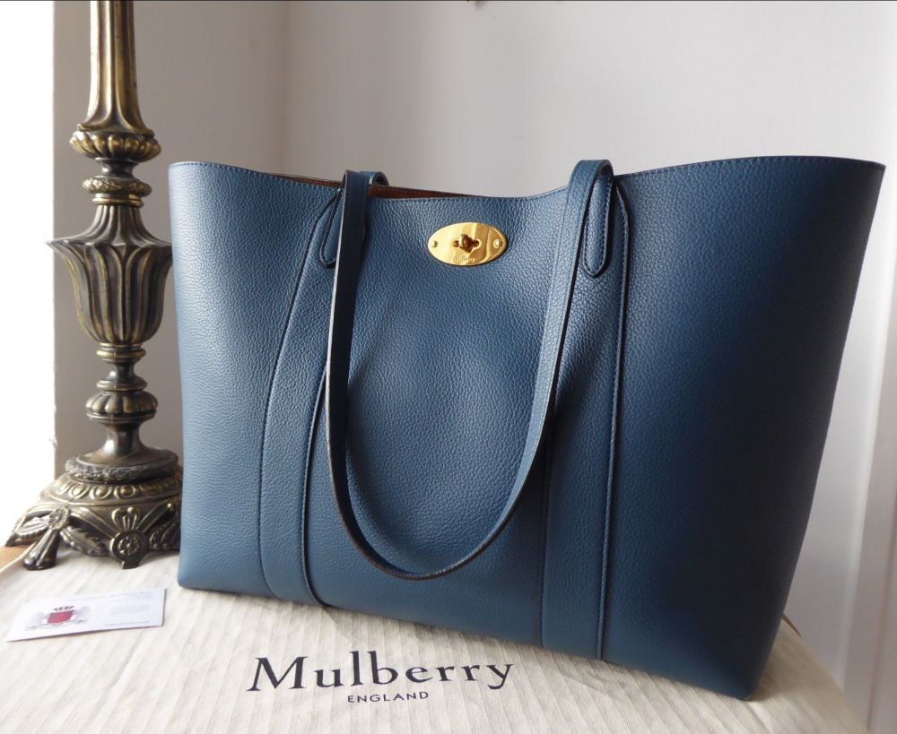 Mulberry Bayswater Tote in Deep Sea Small Classic Grain Leather