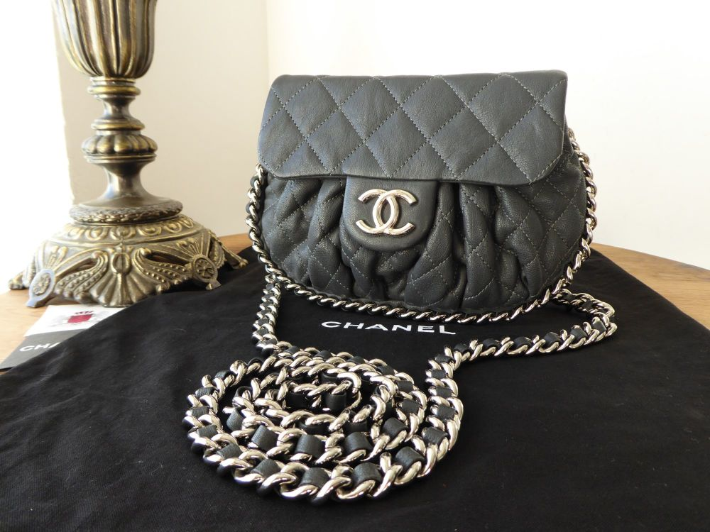 Chanel Mini Chain Around Flap in Charcoal Grey Quilted Calfskin with Shiny