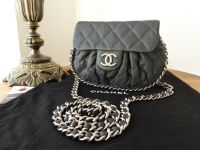 Chanel Mini Chain Around Flap in Grey Quilted Calfskin with Shiny Silver Hardware