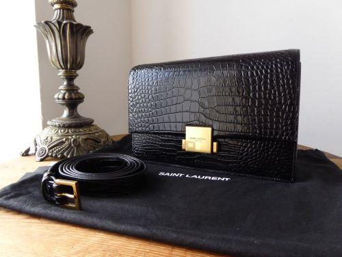 Saint Laurent Bellechasse Shoulder Bag in Glossy Black Croc Embossed Calfsk