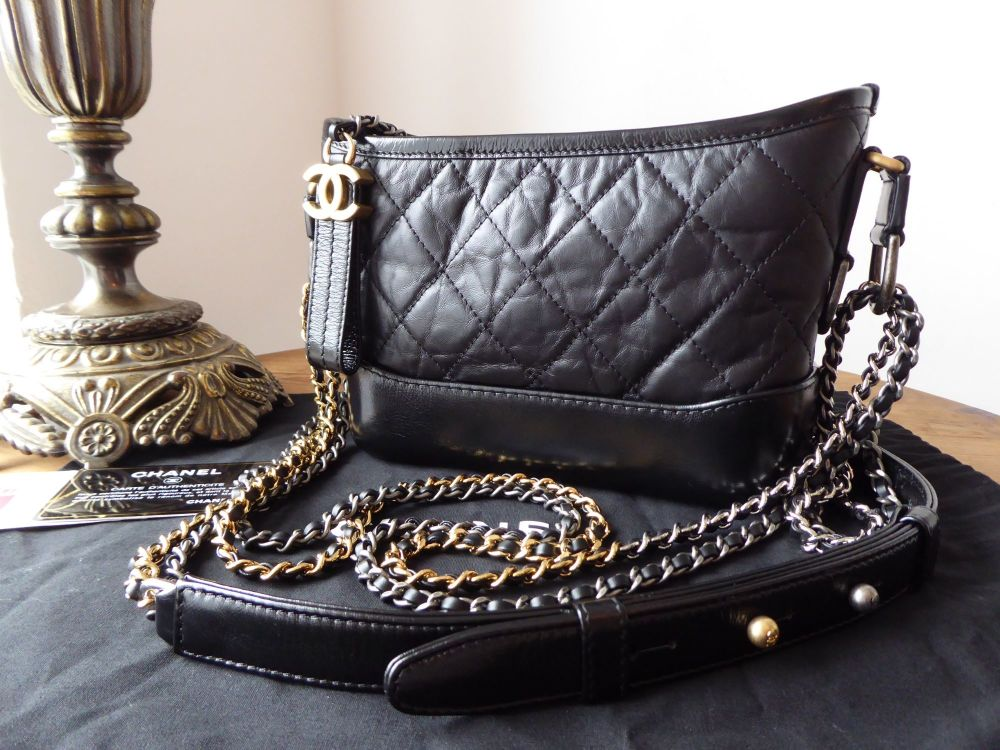 14d90ba4bc4b Chanel Small Gabrielle Messenger in Black Aged Calfskin - SOLD