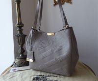 Burberry Canterbury Embossed Check Shoulder Bag and Zip Pouch in Elephant Grey Shrunken Calf Leather