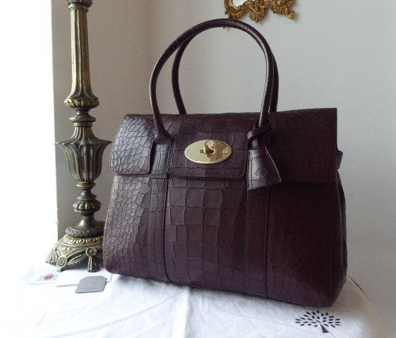 Mulberry Classic Heritage Bayswater in Oxblood Deep Embossed Croc Print Lea