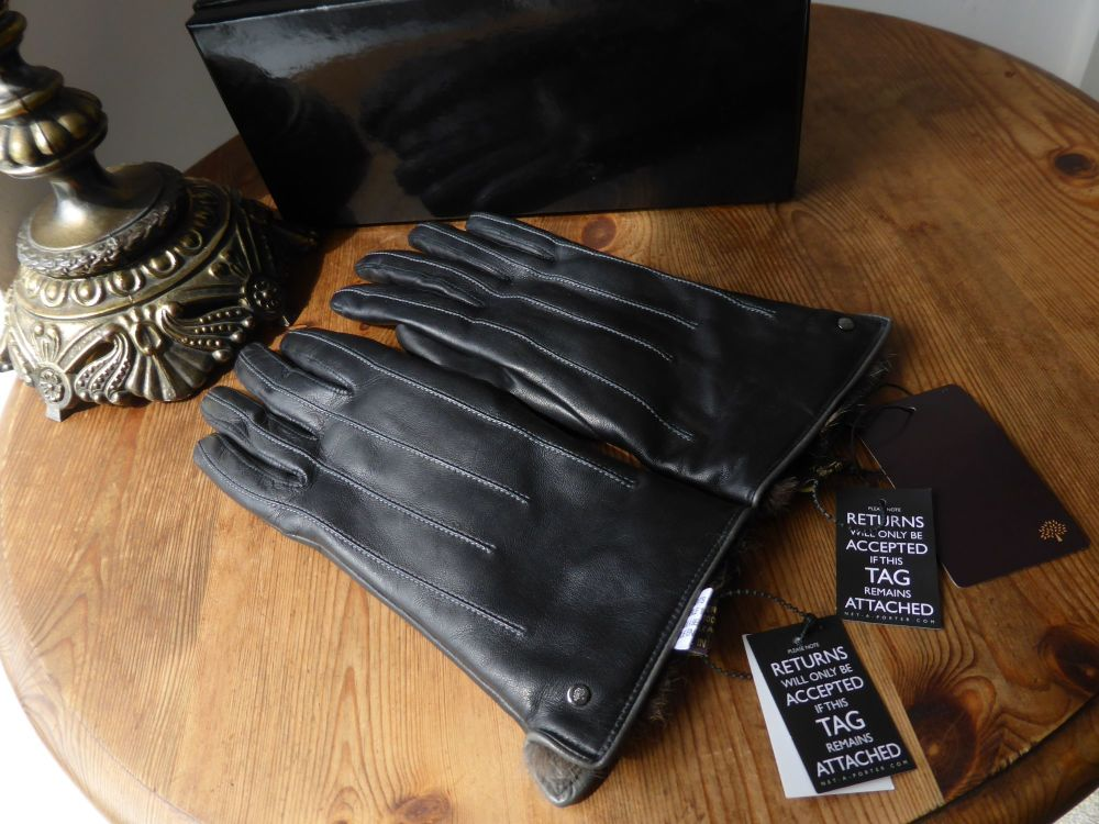 Mulberry Ladies Black Lambskin Leather Fur Lined Gloves - New*