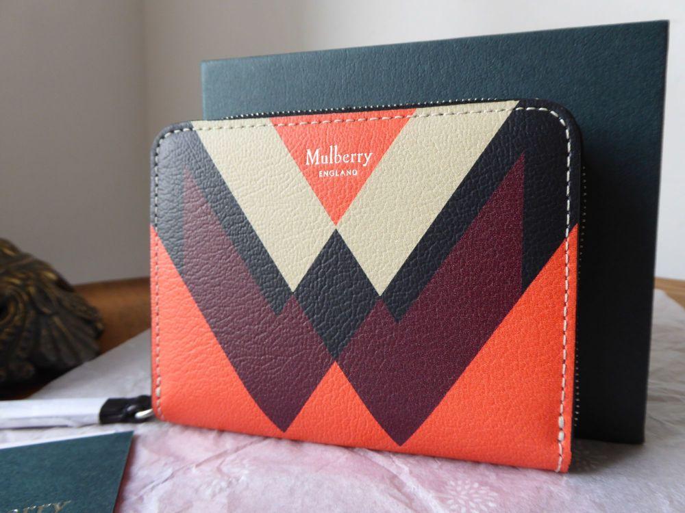 Mulberry M Print Small Zip Around Purse in Black, Orange, Chalk & Crimson -