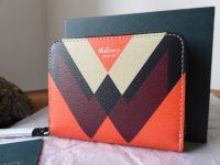 Mulberry M Print Small Zip Around Purse in Black, Orange, Chalk & Crimson - New
