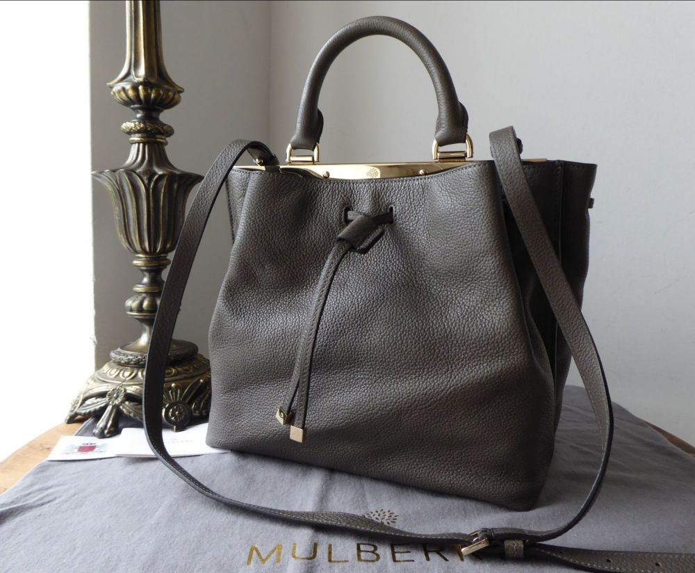 Mulberry Small Kensington Drawstring Satchel in Mole Grey Small Classic Gra