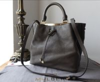 Mulberry Small Kensington Drawstring Satchel in Mole Grey Small Classic Grain