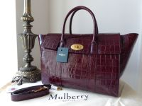 Mulberry Bayswater with Strap in Burgundy Croc Printed Calfskin - New