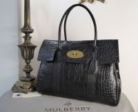 Mulberry Classic Heritage Bayswater in Black Croc Printed Leather