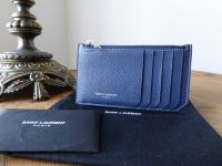 Saint Laurent Paris 5 Fragments Zip Pouch Card Holder in Blue Grained Leather - As New