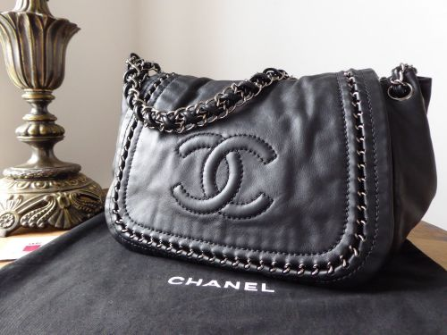 Chanel Luxe Ligne Flap Hobo in Smooth Black Lamb Nappa with Shiny Silver Ha