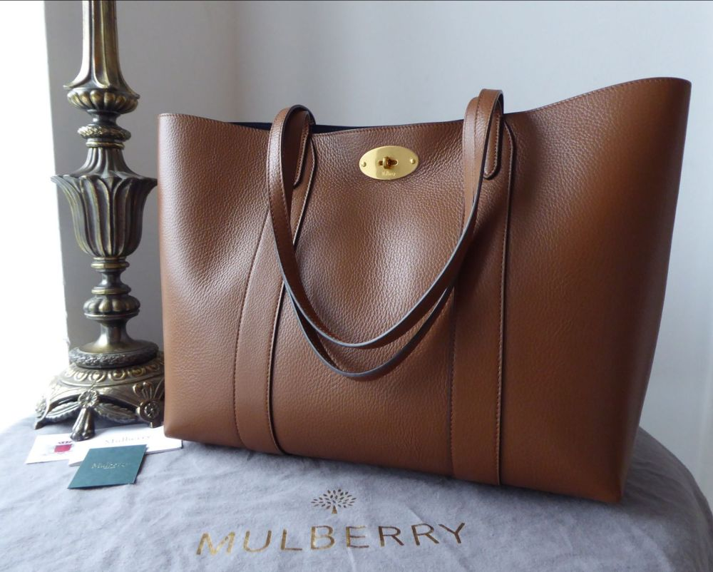 Mulberry Bayswater Tote in Oak Small Classic Grain Leather with Oxford Blue