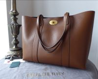 Mulberry Bayswater Tote in Oak Small Classic Grain Leather with Oxford Blue Suede Lining
