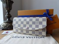 Louis Vuitton Emilie Continental Wallet Purse in Damier Azur Rose Ballerine - As New