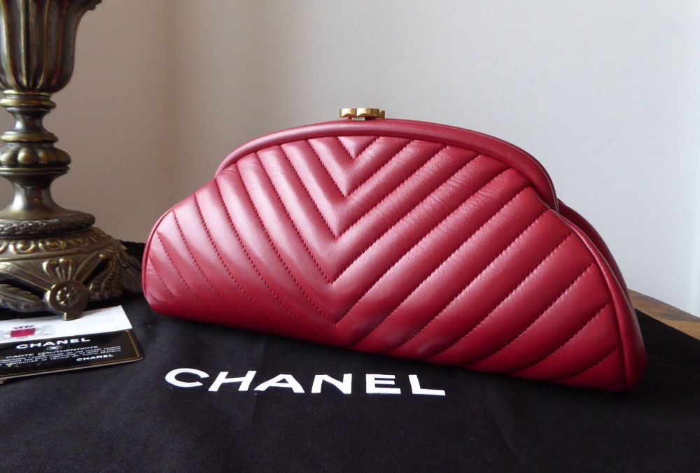 c3d07cb02efc Chanel Timeless Clutch in Dark Red Chevron Quilted Lambskin with Antiqued G