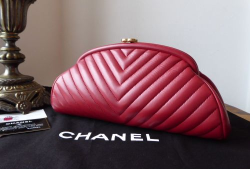 Chanel Timeless Clutch in Dark Red Chevron Quilted Lambskin with Antiqued G