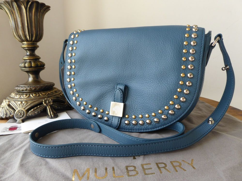 Mulberry Tessie Rivet Satchel in Steel Blue Small Soft Grain Leather - New*