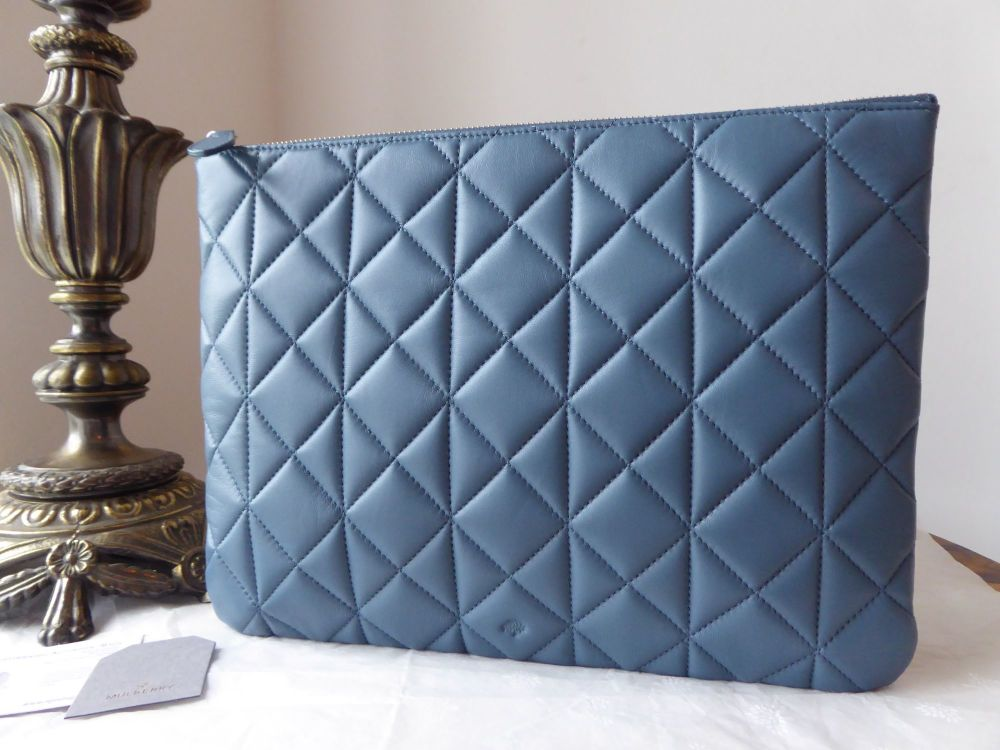 Mulberry Cara Delevingne Large Zip Pouch in Steel Blue Quilted Nappa - New