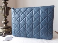 Mulberry Cara Delevingne Large Zip Pouch in Steel Blue Quilted Nappa - SOLD