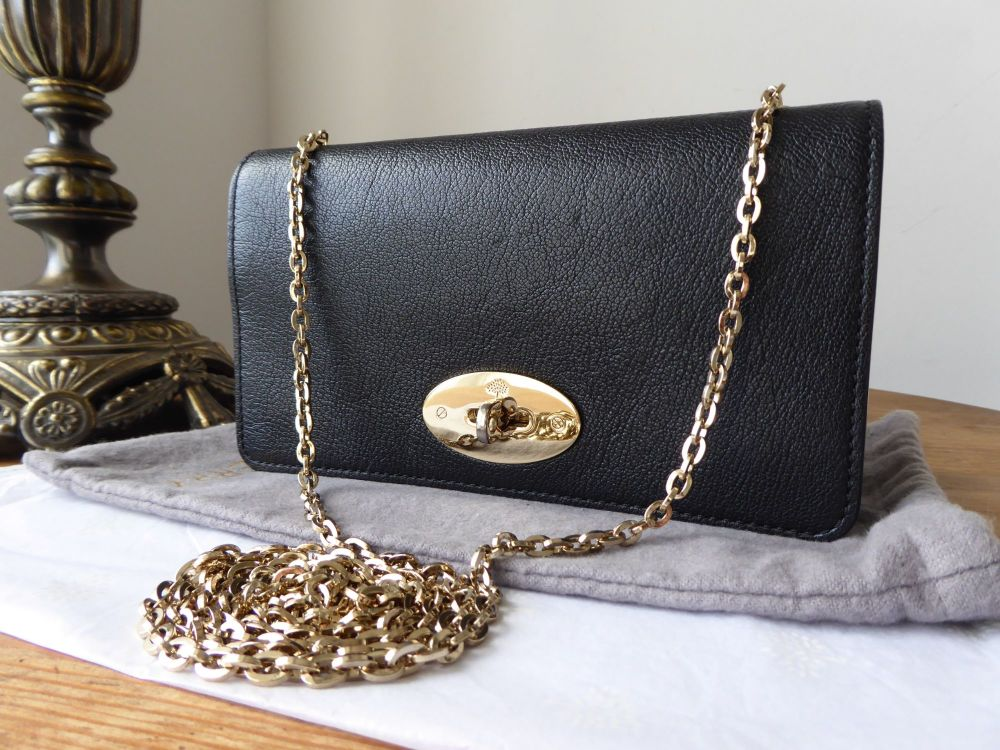 Mulberry Bayswater Shoulder Clutch in Black Glossy Goat with Gold Hardware