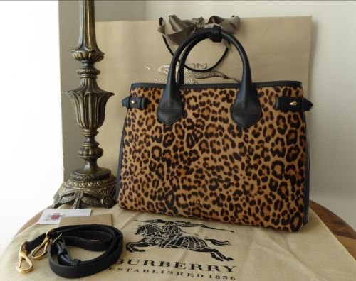 Burberry Medium Banner Tote in Leopard Print Haircalf - As New