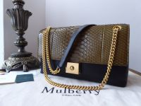 Mulberry Cheyne in Khaki Python and Black Smooth Calf - New
