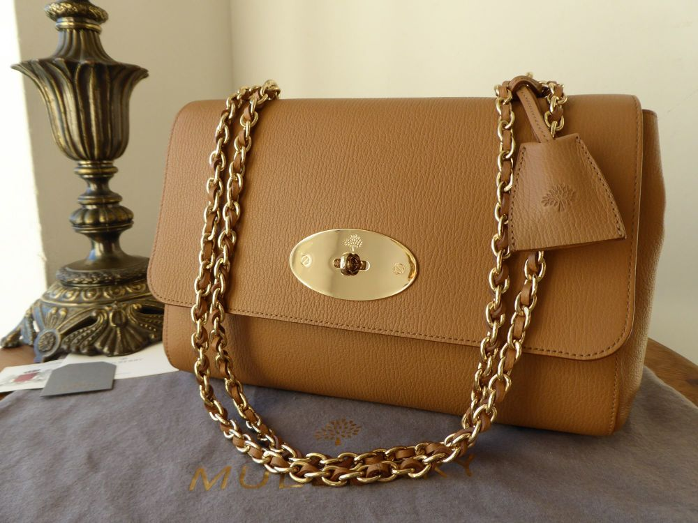 Mulberry Medium Lily in Deer Brown Grainy Print Leather with Shiny Gold Har