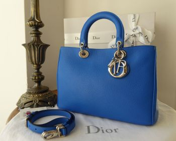 Dior Diorissimo Medium Tote and Zip Pouch in Blue Lazulis Taurillon with Malabar Pink Lining
