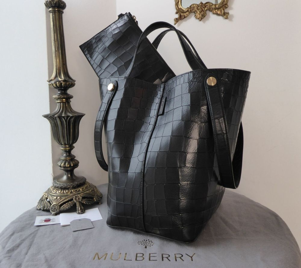 Mulberry Large Kite Tote in Black Deep Embossed Croc Printed Leather - As N