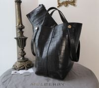 Mulberry Large Kite Tote in Black Deep Embossed Croc Printed Leather - New*