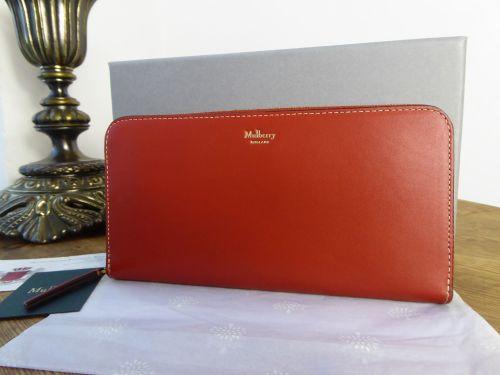 Mulberry 12 Card Continental Zip Around Purse Wallet in Rust Sleek Calf - A