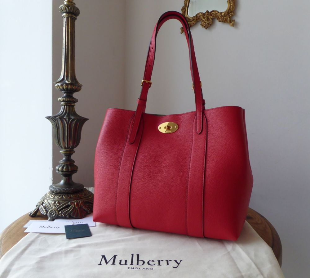 Mulberry New Style Small Bayswater Tote in Ruby Red Small Classic Grain - N