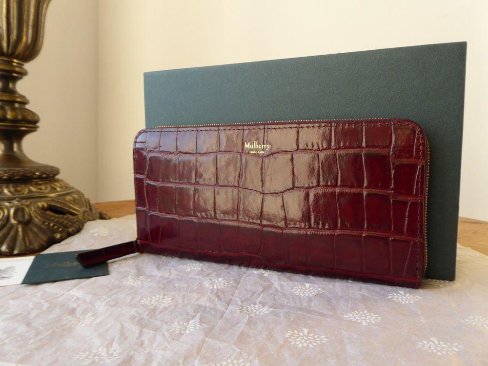 Mulberry Continental Zip Around Purse in Burgundy Croc Printed Calfskin  -
