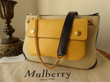 Mulberry Winsley Multicolour in Chalk and Midnight Smooth Calf with Sunflower Pouch - New