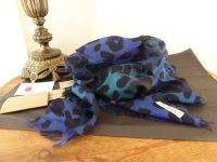 Burberry Animal Print Check Gauze Scarf in Sapphire Blue Wool Silk Mix - New