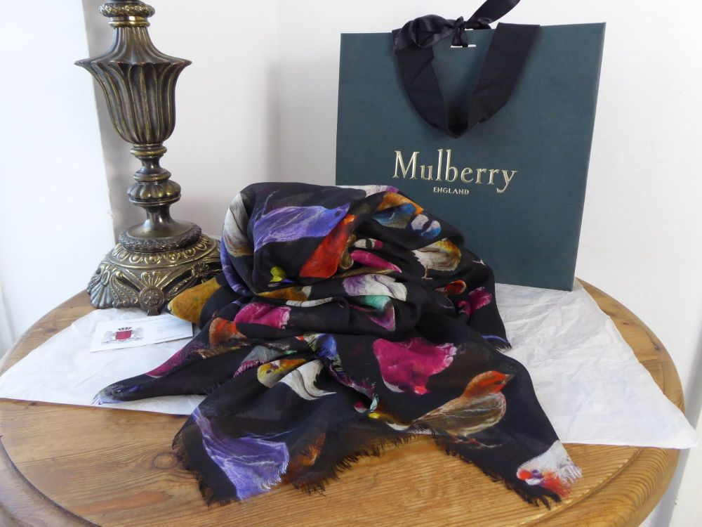 Mulberry Fabulous Finches Large Wrap Scarf in Multicolour Modal Silk Blend