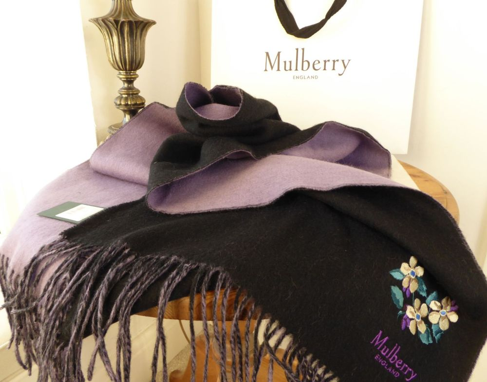 Mulberry Winter Fringed Scarf in Embroidered Black & Mauve Lambswool - New*