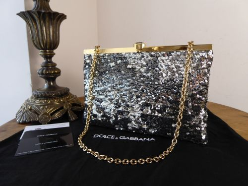 c233338043e6 Dolce   Gabbana Metallic Silver Sequin Convertible Shoulder Clutch ...