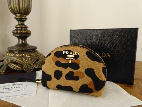 Prada Small Coin Zip Pouch Purse Cavallino Stamp in Leopard Printed Calf Ha
