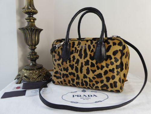 Prada Double Zip Bauletto Cavallino Struz in Leopard Printed Calf Hair and