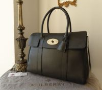 Mulberry Classic Heritage Bayswater in Graphite Grey Pebbled Leather with Silver Hardware
