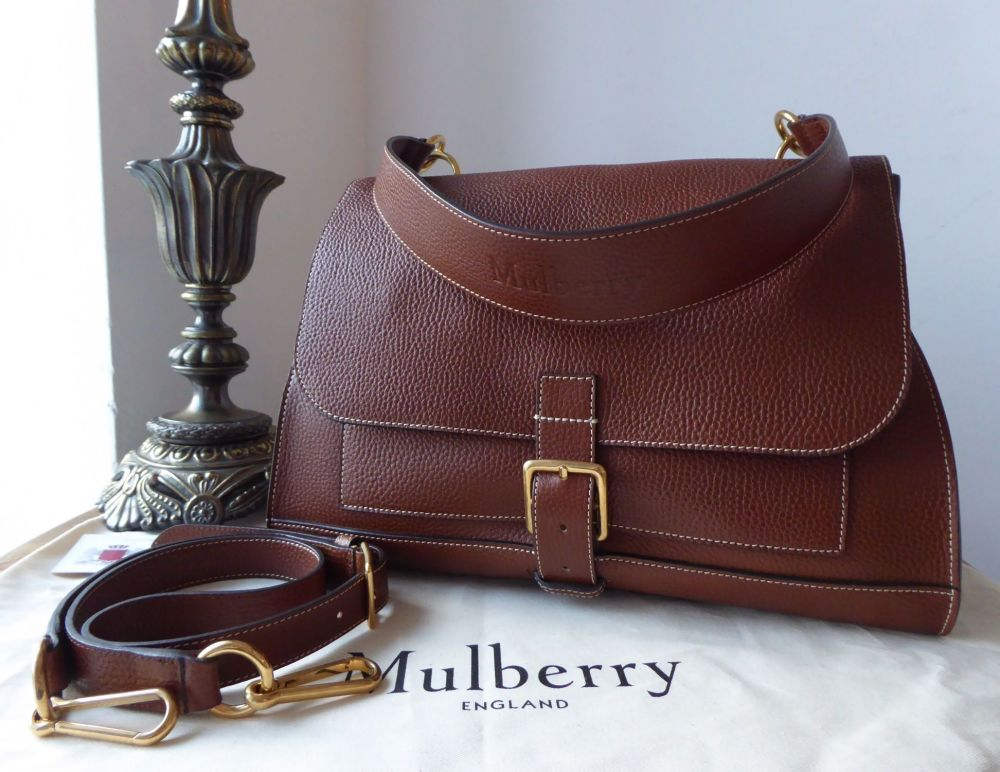 Mulberry Chiltern Buckle Satchel in Oak Grain Vegetable Tanned Leather - As