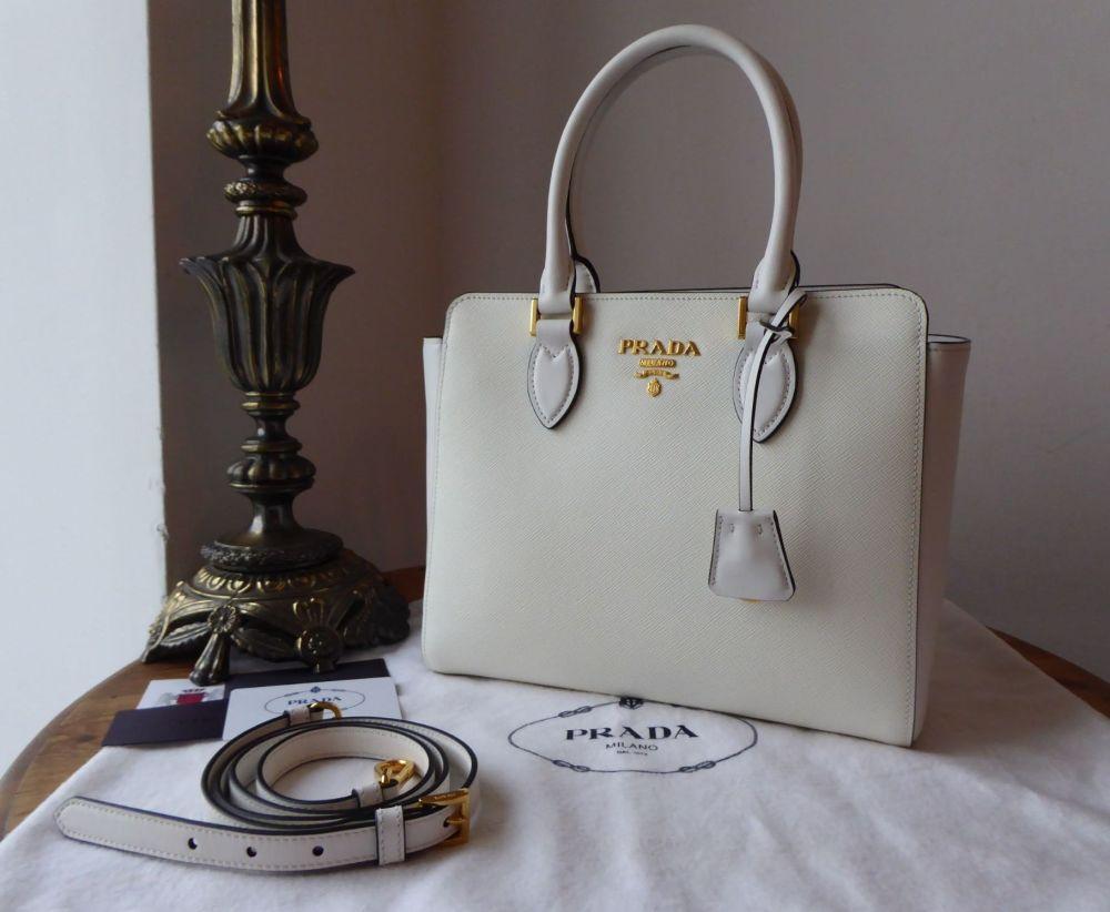 Prada Small Galleria Tote in White Saffiano and Soft Calf - New