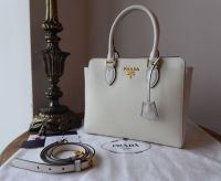 Prada Small Galleria Tote in White Saffiano and Soft Calf - New