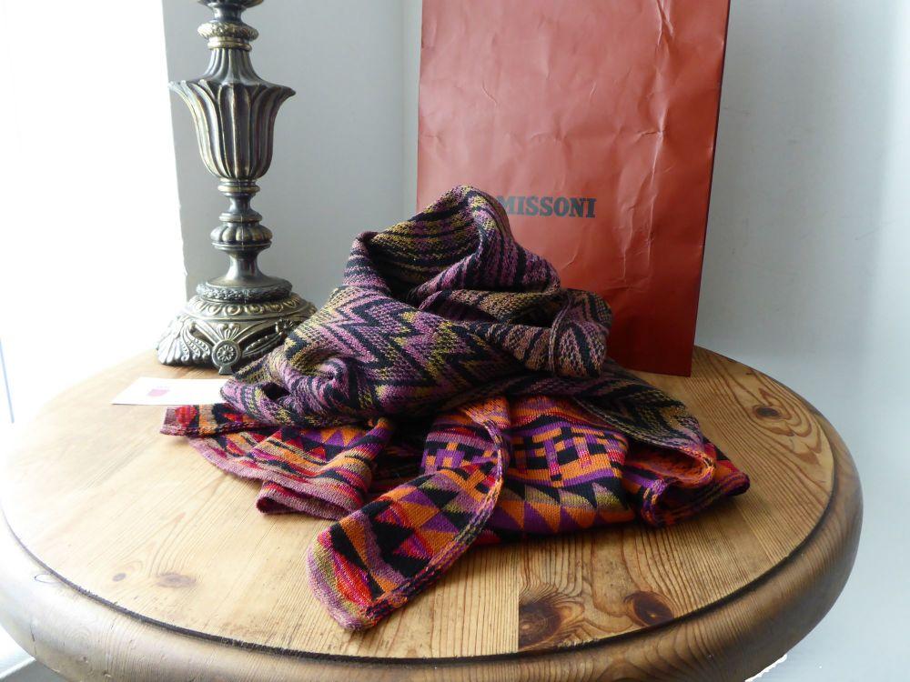 Missoni Wool Mix Reversible Geometric Zig Zag Knit Classic Winter Scarf