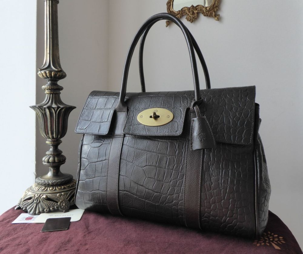 Mulberry Classic Heritage Bayswater In Chocolate Croc Printed Vegetable Tan