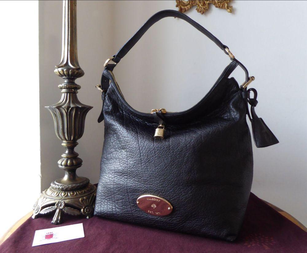 Mulberry Bella Hobo in Black Buffalo Shine Leather