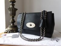 Mulberry Lily Medium in Black Glossy Goat with Shiny Silver Nickel Hardware